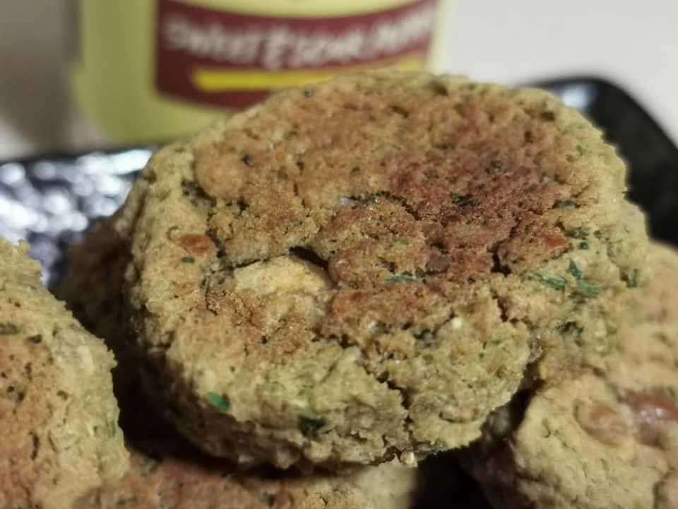 Close up of smoked falafels